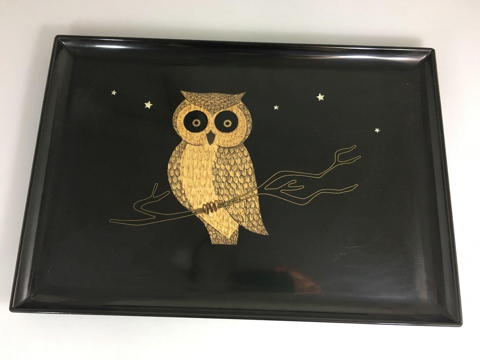 Couroc Monterey Owl Wood Inlay Black Serving Tray 18x 12 Mid Century Modern Vint