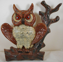 Vintage Hanging Owl Ceramic Art Wall Decor Plaque Branch Mid Century - $27.71