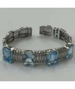 Aquamarine Bracelet Bangle 14k White Gold 35g - $3,308.26