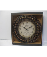 12 Inch Clock Wall Mounted Battery Powered Brown Plastic Frame - $10.67