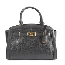 Michael Kors Karson Large Black Floral Tooled Leather Satchel Shoulder B... - $242.06