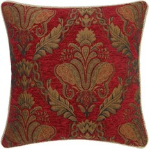 """FILLED RED GOLD FLORAL CHENILLE TAPESTRY 23"""" - 58CM THICK CUSHION - £14.36 GBP"""