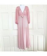 Vintage Sears Silky Nightgown Long Sleeve Plunging V Neck Full Length Pink M 36 - $21.48