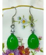 Silver Earrings Water Drop Shape Green Chalcedony Zircon Gemstone Retro Earring - $120.00