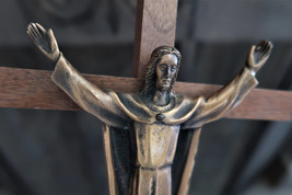 Vintage Brass Risen Jesus on Oak Cross wall mount - $40.00