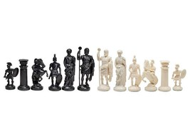 Roman plastic chess pieces / chessmen - cream / black - $14.89