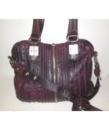 Tulah Ray Large Leather Split Satchel Purple Handles plus Shoulder Strap - $50.00
