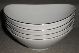 "Set (4) Charter Club GRAND BUFFET PATTERN 7 1/4"" Oval Bowls PLATINUM TRIM - $128.69"