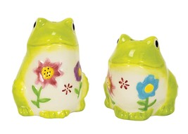 Flower Power Frog Salt & Pepper Shakers Hand-painted Ceramic by Boston W... - $15.99