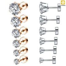Stud Earrings Women CZ Crystal 316L Stainless Steel Ear Stud Round Tragu... - $10.67+