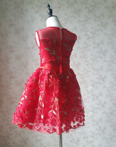Girl Lace Tulle Red Party Dress Red Embroidery Wedding Flower Girl Dresses- 4-16 image 7