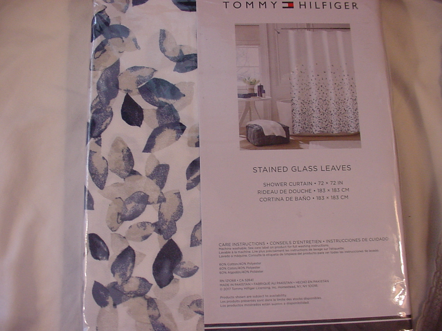 Tommy Hilfiger Stained Glass Leaves Blue Gray White Shower Curtain