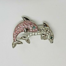 Silver Tone Rhinestone Dolphins Brooch Pin Clear Pink & Green Crystals - $9.97