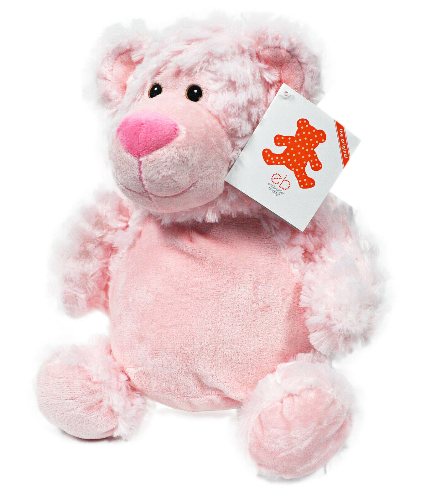 Brodeur Buddy Bobby Ours Rose 16 Pouces Broderie Peluche Animal