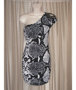 M Snake Print Beaded  Shawled One-Shoulder Bodycon Stretch Mini Dress Me... - $19.99