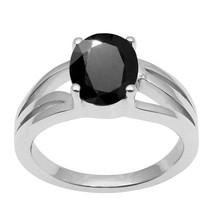 Oval Cut Black Spinel Gemstone 925 Sterling Silver Split Shank Wedding Ring - $38.00