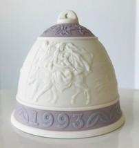 1993 Lladro Christmas Bell Ornament Lavender Holy Family Porcelain No Box - $12.59