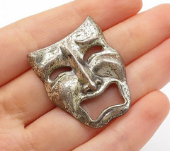 BEAU 925 Silver - Vintage Antique Dramatic Theater Mask Brooch Pin - BP5085 - $35.01