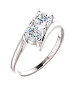 Round Two Stone Diamond Engagement Ring, 14k White Gold (0.46 Ct, F , VS2 ) - $1,178.74
