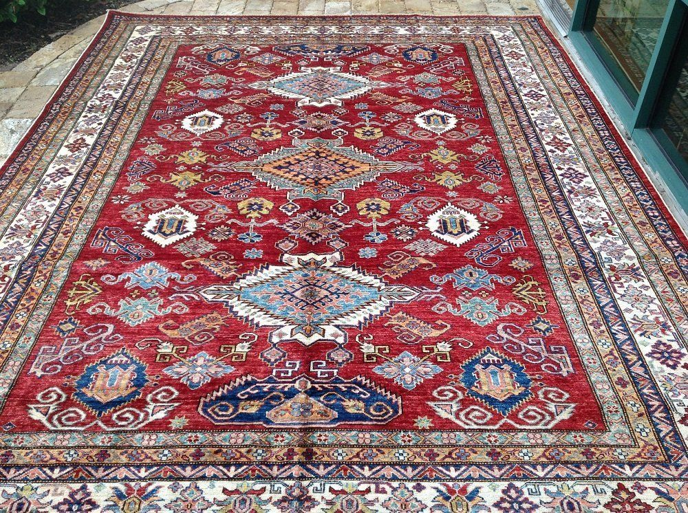 "Primary image for Oriental Rug Fine super Kazak Wool  Hand Knotted Tribal Design Rug 8'0"" X 10'4"""