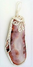 Agatized Coral Silver Copper Wire Wrap Pendant 6 - $27.96