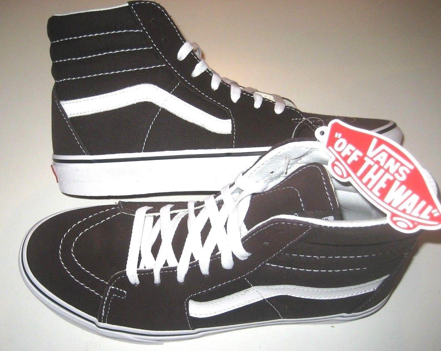 Vans Mens Sk8-Hi Chocolate Torte True White Canvas Suede Skate shoes Size 9 NWT image 2