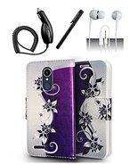 LG K10 (2018) K30 Purple Vine Design Flip Flap Pouch Magnetic Wallet Case - $13.99