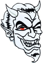 Red Eye Devil Lucifer Satan Skull Iron On Embroidered Patch  - $1.99