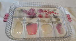 Snack condiment Painted Glass fruit serving tray Carnival Glass irridescent - $15.00