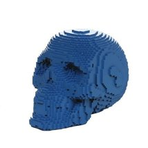 3D Pixelated Skull Collectible Desktop Figurine Gift 4 Inch (Blue Color) - £11.48 GBP