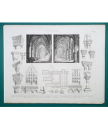 ARCHITECTURE Romanesque Hungary Vienna Germany - 1870 Engraving Print - $16.20