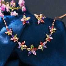 Pera New Fashion Korean Style Multi Colored Flower Rose Gold Cubic Zirconia Stud - $33.02
