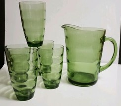 6 Piece MCM Hazel-Atlas CONTINENTAL CAN Green Saturn Optic Rings Pitcher... - $51.48