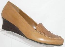 Naturalizer 'Deidra' beige leather woven penny loafer mid wedge heel 10M - $28.66