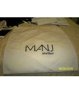 "Manu atelier New  Tan Dust / black Logo Bag  Draw String 13 x 14"" - $14.84"