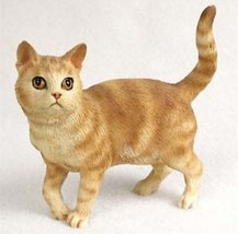 SHORTHAIRED RED TABBY STANDING CAT Figurine Statue Hand Painted Resin Gift - $17.25