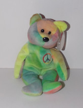 Ty Beanie Baby Peace Plush 8in Teddy Bear Stuffed Animal Retired with Ta... - $19.99