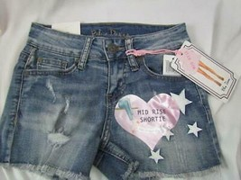 NWT Blue Desire Mid Rise Shortie Junior Sz 0 Destroyed Frayed Star Org $39 - $23.74