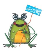 Garden Frog Metal Solar LED Welcome Sign Green  - $39.99