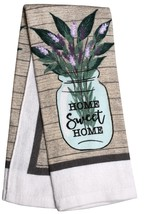 KITCHEN TOWELS Set of 2 Home Sweet Home Lavender Green Brown Beige Cotton image 3