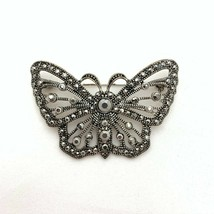 Silver Tone Marcasite Butterfly Brooch Openwork Insect Pin Mariposa Jewelry - $32.73