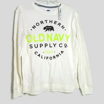 Old Navy Thermal Waffle Knit Shirt Boys Size M 8 Ivory Long Sleeve Crew ... - $9.89