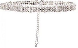 Kissweet Chunky Women Rhinestone Choker Necklace 3 Row Silver Bling Crystal For - $27.67