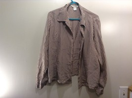 Melrose Studio Brown/White Striped Long Sleeve Silk Blouse Sz M