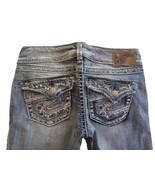SILVER Jeans Sale Buckle Low Sequin Flap Destructed Slim Bootcut Jean 26... - $37.37