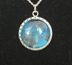 Handpainted Blue and Grey Pendant - $12.00