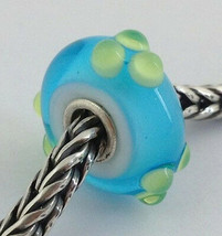 Authentic Trollbeads Turquoise / Green Spring Bud Bead Charm 61366, New - $23.74