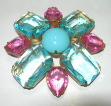 HUGE OPEN BACK GLASS RHINESTONE CLEAR BLUE & PINK LARGE VINTAGE BROOCH PIN - $95.00