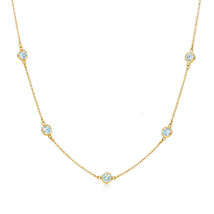 3Ct Created Diamond By The Yard Bezel Station Solid 14k Gold Necklace 16... - $167.31+