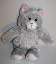 "Build A Bear KITTY CAT 17"" Gray Plush 2010 Stuffed Soft Toy Grey Pink Ea... - $10.48"